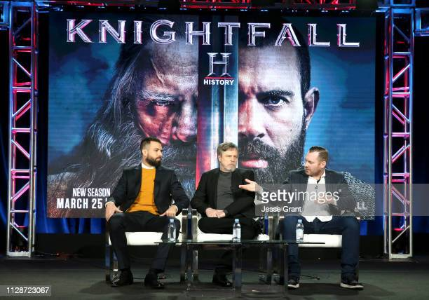 Tom Cullen Mark Hamill and Aaron Helbing speak during HISTORY's 'Knightfall' presented by Mark Hamill Tom Cullen and Aaron Helbing at the 2019 Winter...