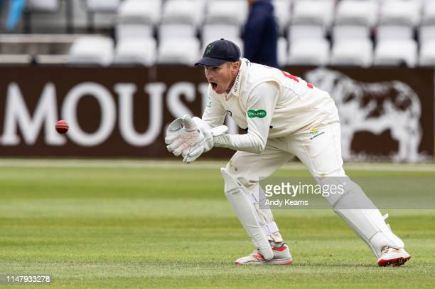 Tom Cullen of Glamorgan keeping wicket during the Specsavers County Championship Division Two match between Northamptonshire and Glamorgan at The...