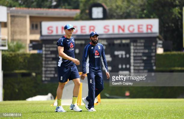Tom Curran and Adil Rashid of England during a nets session at P Sara Oval on October 3 2018 in Colombo