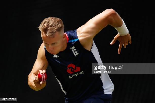 Tom Curran bowls during an England nets session at the Melbourne Cricket Ground on December 23 2017 in Melbourne Australia