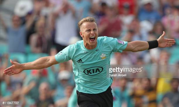 Tom Curran celebrates after bowling the final delivery as Surrey win a last ball thriller during the NatWest T20 Blast match at The Kia Oval on July...