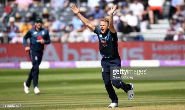 Tom Curran of England appeals during the 3rd Royal London One Day International between England and Pakistan at The County Ground on May 14 2019 in...