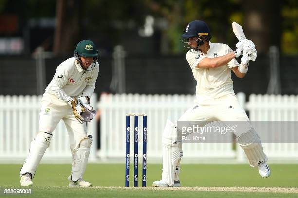 Tom Curran of England bats during the Two Day tour match between the Cricket Australia CA XI and England at Richardson Park on December 9 2017 in...