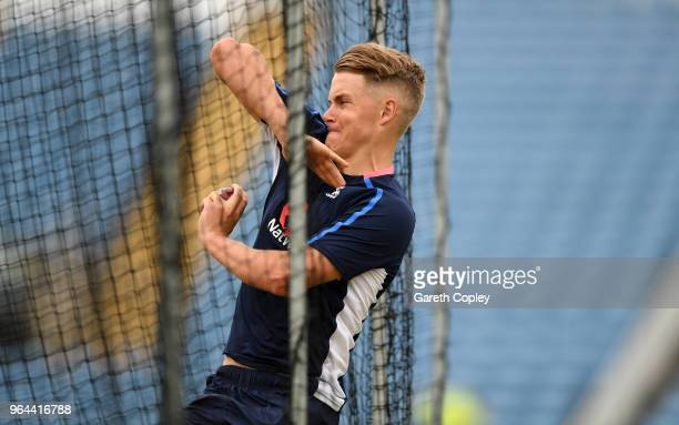 Tom Curran of England bowls during a nets session at Headingley on May 31 2018 in Leeds England