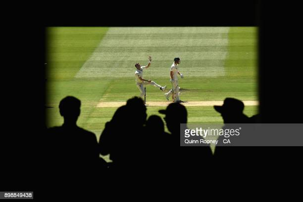 Tom Curran of England bowls during day two of the Fourth Test Match in the 2017/18 Ashes series between Australia and England at Melbourne Cricket...