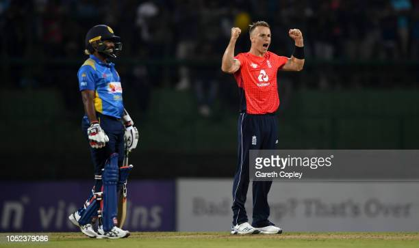Tom Curran of England celebartes dismissing Dhananjaya de Silva of Sri Lanka during the 3rd One Day International match between Sri Lanka and England...