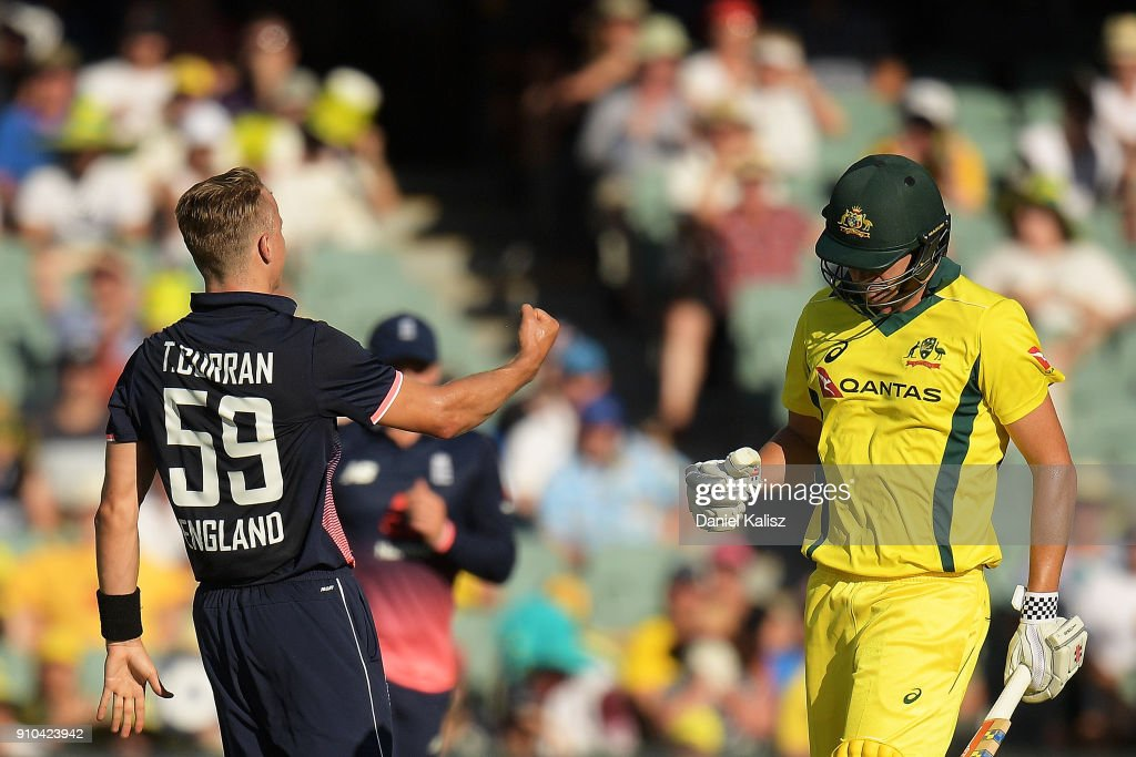 Tom Curran of England celebrates after dismissing Cameron White of Australia during game four of the One Day International series between Australia and England at Adelaide Oval on January 26, 2018 in Adelaide, Australia.