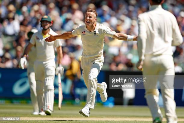 Tom Curran of England celebrates after dismissing Steve Smith of Australia during day two of the Fourth Test Match in the 2017/18 Ashes series...