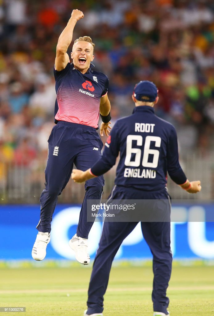 Tom Curran of England celebrates getting the final wicket to win game five of the One Day International match between Australia and England at Perth Stadium on January 28, 2018 in Perth, Australia.