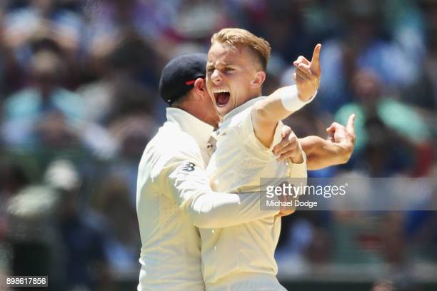 Tom Curran of England celebrates his dismissal of David Warner of Australia but was later was overturned due to him bowling a no ball during day one...