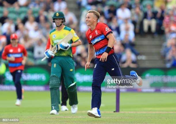 Tom Curran of England celebrates taking the wicket of Chris Morris of South Africa during the 2nd NatWest T20 International match between England and...