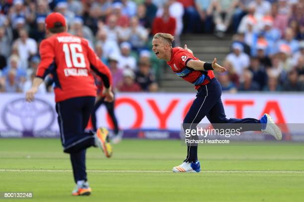 Tom Curran of England celebrates taking the wicket of Reeza Hendricks of South Africa during the 2nd NatWest T20 International match between England...