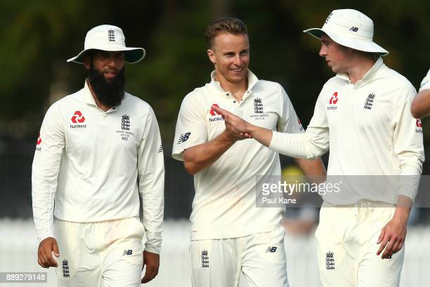 Tom Curran of England celebrates the wicket of Travis Dean of the CA XI during the Two Day tour match between the Cricket Australia CA XI and England...