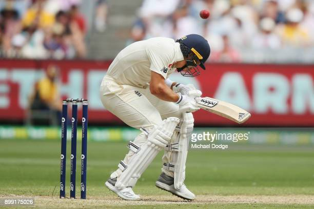 Tom Curran of England is hit first ball he faces during day three of the Fourth Test Match in the 2017/18 Ashes series between Australia and England...