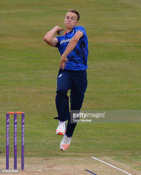Tom Curran of England Lions bowls during the England Lions v Sri Lanka A Triangular Series match on July 21 2016 in Northampton England