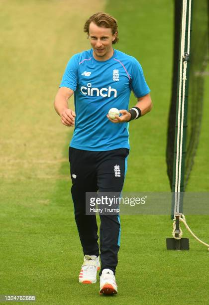 Tom Curran of England looks on during an England Nets Session at Sophia Gardens on June 21, 2021 in Cardiff, Wales.
