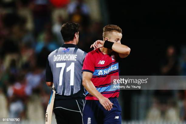 Tom Curran of England reacts at the conclusion of the International Twenty20 match between New Zealand and England at Seddon Park on February 18 2018...