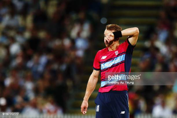 Tom Curran of England reacts during the International Twenty20 match between New Zealand and England at Seddon Park on February 18 2018 in Hamilton...