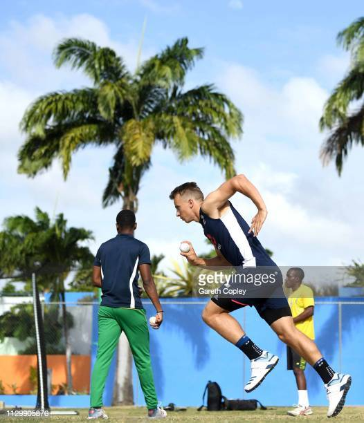 Tom Curran of England runs into bowl during a nets session at The Kensington Oval on February 15, 2019 in Bridgetown, Barbados.