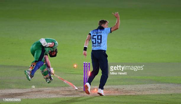 Tom Curran of England runs out Paul Stirling of Ireland during the Third One Day International between England and Ireland in the Royal London Series...