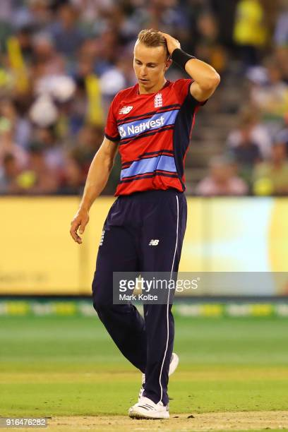 Tom Curran of England shows his frustration during game two of the International Twenty20 series between Australia and England at Melbourne Cricket...