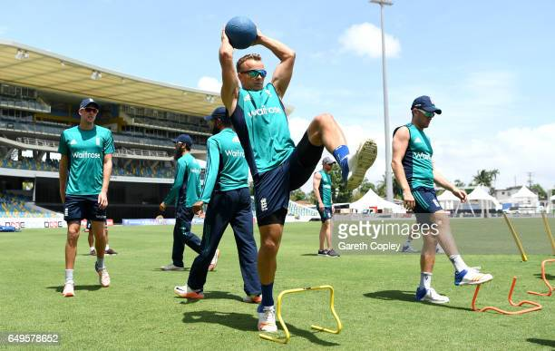 Tom Curran of England warms up during a nets session at Kensington Oval on March 8 2017 in Bridgetown Barbados
