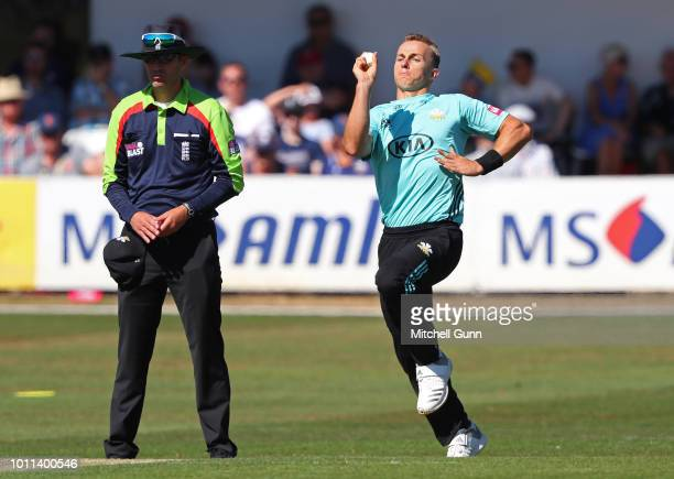 Tom Curran of Surrey bowling during the Vitality Blast T20 match between Essex Eagles and Surrey at The Cloud FM Cricket Ground on August 5 2018 in...