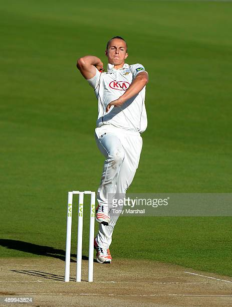 Tom Curran of Surrey bowls during the LV County Championship Division Two match between Surrey and Northamptoshire at The Kia Oval on September 25...