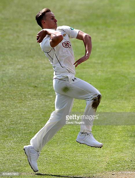 Tom Curran of Surrey bowls during the Specsavers County Championship division one match between Nottinghamshire and Surrey at the Trent Bridge on...
