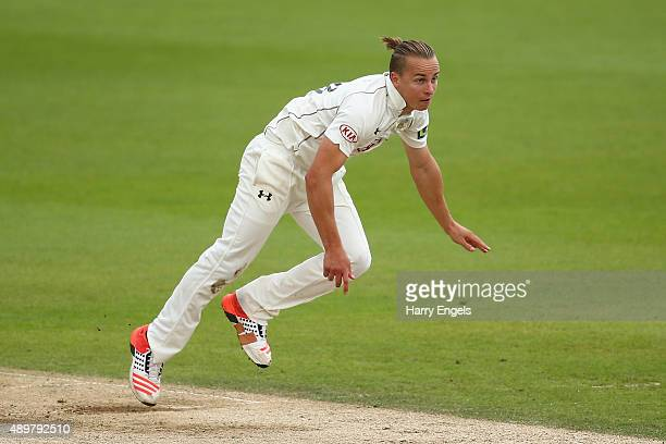 Tom Curran of Surrey bowls on day three of the LV County Championship Division Two match between Surrey and Northamptonshire at The Kia Oval on...