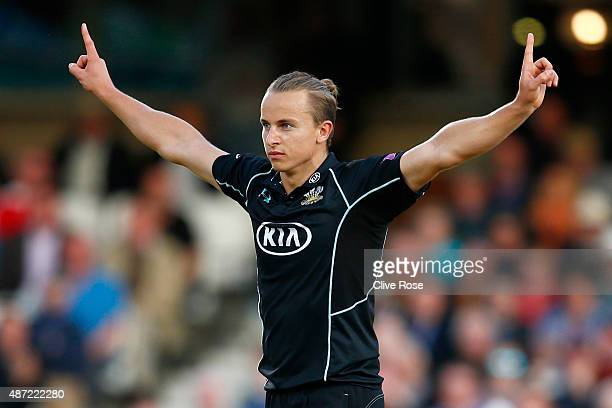 Tom Curran of Surrey celebrates after bowling the final delivery for Surrey to win the Royal London OneDay Cup Semi Final between Surrey and...