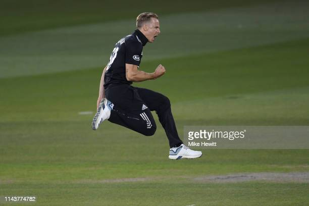 Tom Curran of Surrey celebrates after bowling Will Beer of Sussex during the Royal London One Day Cup match between Sussex and Surrey at County...