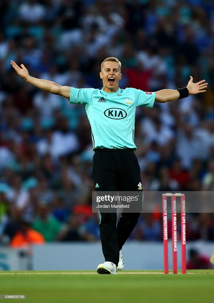 Tom Curran of Surrey celebrates dismissing Johann Myburgh of Somerset during the Vitality Blast match between Surrey and Somerset at The Kia Oval on July 27, 2018 in London, England.