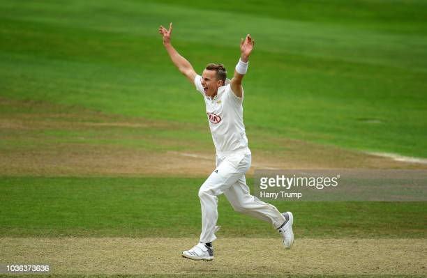 Tom Curran of Surrey celebrates the wicket of Tom Banton of Somerset during Day Three of the Specsavers County Championship Division One match...