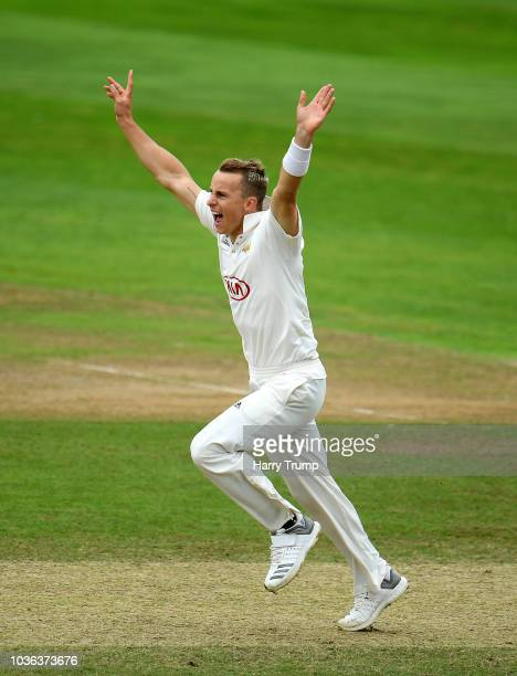 Tom Abell of Somerset bats during Day Three of the Specsavers County Championship Division One match between Somerset and Surrey at The Cooper...