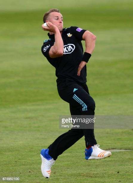 Tom Curran of Surrey during the Royal London OneDay Cup between Somerset and Surrey at The Cooper Associates County Ground on April 28 2017 in...