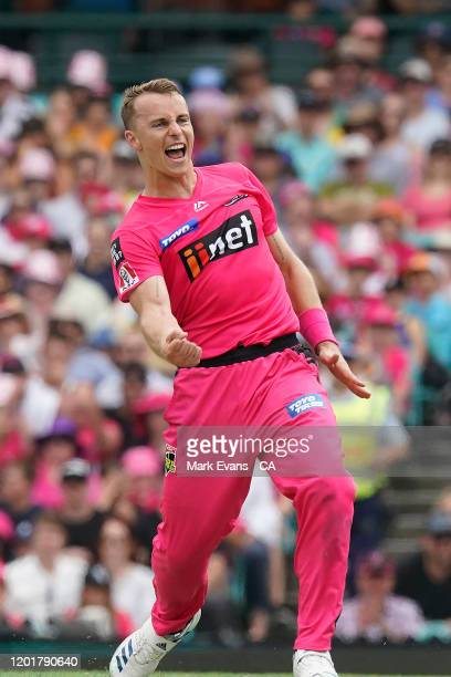 Tom Curran of the Sixers celebrates the wicket of during the Big Bash League match between the Sydney Sixers and the Melbourne Renegades at the...