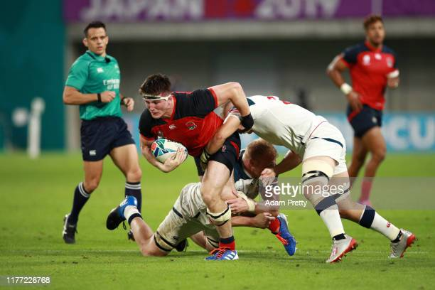 Tom Curry of England breaks during the Rugby World Cup 2019 Group C game between England and USA at Kobe Misaki Stadium on September 26 2019 in Kobe...