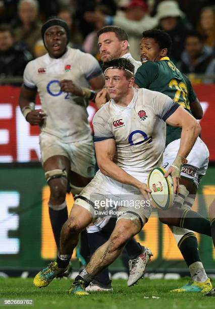 Tom Curry of England breaks with the ball during the third test match between South Africa and England at Newlands Stadium on June 23 2018 in Cape...