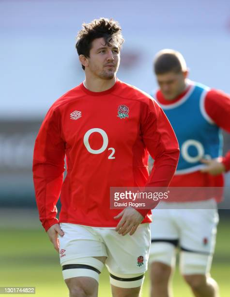 Tom Curry of England looks on during the England Captain's Run ahead of the Guinness Six Nations match between England and Italy at Twickenham...