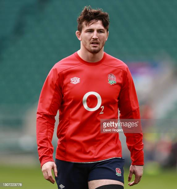 Tom Curry of England looks on in the warm up prior to the Guinness Six Nations match between England and France at Twickenham Stadium on March 13,...