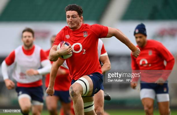 Tom Curry of England makes a break during a training session at Twickenham Stadium on February 20, 2021 in London, England.