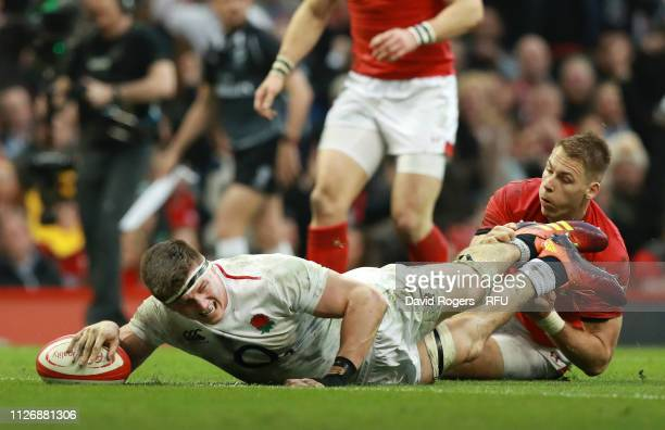 Tom Curry of England touches down for England's first try during the Guinness Six Nations match between Wales and England at Principality Stadium on...