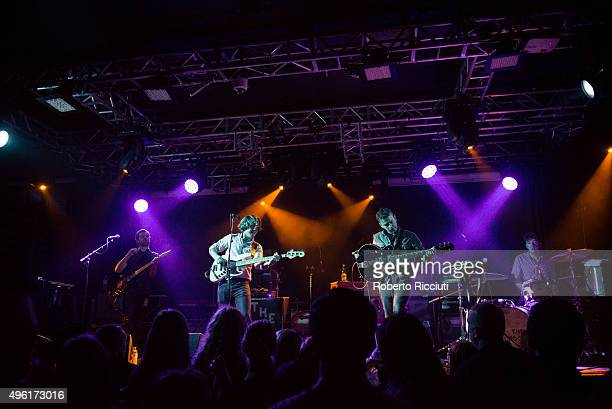 Tom Dakin George Waite Daniel Hopewell and Adam Crofts of The Crookes performs on stage at The Liquid Room on November 7 2015 in Edinburgh Scotland