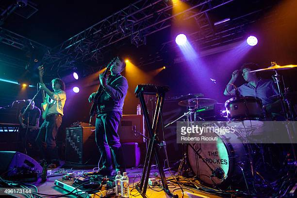 Tom Dakin George Waite Daniel Hopewell and Adam Crofts of The Crookes perform on stage at The Liquid Room on November 7 2015 in Edinburgh Scotland