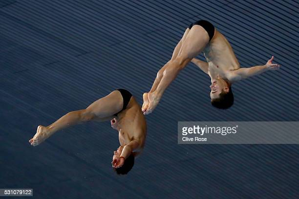 Tom Daley and Daniel Goodfellow compete in the Men's 10m Synchro Final on day four of the 33rd LEN European Swimming Championships 2016 at Aquatics...