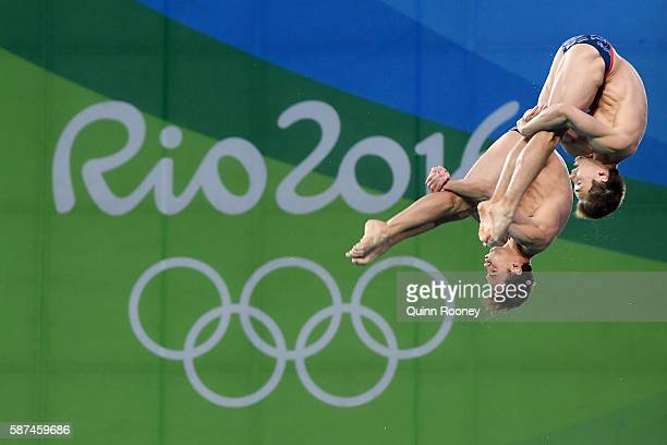 Tom Daley and Daniel Goodfellow of Great Britain compete in the Men's Diving Synchronised 10m Platform Final on Day 3 of the Rio 2016 Olympic Games...