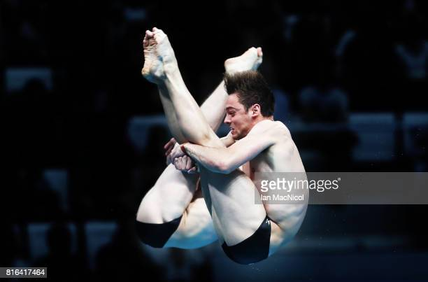 Tom Daley and Daniel Goodfellow of Great Britain compete in the Men's 10m Synchro Platform during day four of The FINA World Championships on July 17...