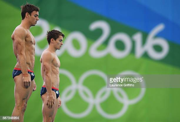 Tom Daley and Daniel Goodfellow of Great Britain warm up prior to the Men's Diving Synchronised 10m Platform Final on Day 3 of the Rio 2016 Olympic...