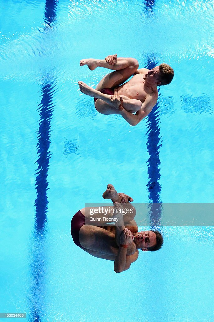Tom Daley and Denny James of England compete in the Men's Synchronised 10m Platform Final at Royal Commonwealth Pool during day nine of the Glasgow 2014 Commonwealth Games on August 1, 2014 in Edinburgh, Scotland